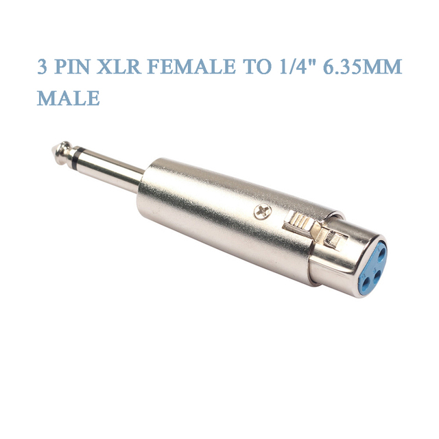 """Connector Jack Lead Mic Microphone Audio Stereo Adapter 1pc XLR 3 Pin Female Jack to 1/4"""" 6.35mm Mono Male Plug Audio Adapter"""