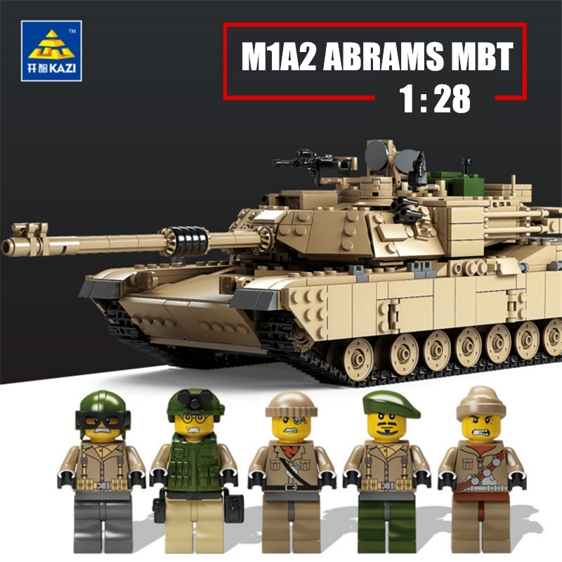 KAZI 1463PCS Military Building Block Toy 1:28 M1A2 ABRAMS Tank and 1:18 Hummer Scale Model Toys Hobby Compatible with lego радиоуправляемый танковый бой huan qi abrams vs abrams масштаб 1 24 27mhz vs 40mhz