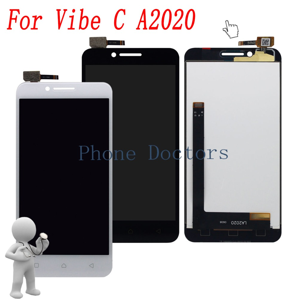 With Frame 5.0'' Touch Screen Digitizer Glass + LCD Display Assembly For Lenovo Vibe C A2020 A2020a40 Black / White;100% Tested