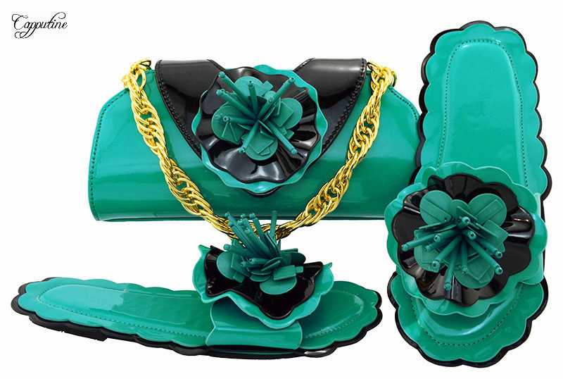 Горячая Распродажа тапочки и сумочка Женская обувь в африканском стиле соответствие с комплект с сумкой mm1053 в цвета морской волны