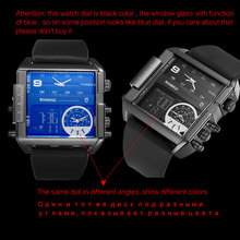 Brand men sports watches 3 time zone big man fashion watch leather rectangle quartz wristwatches