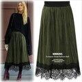 Fashion Pleated Skirt Women Vintage Skirts 2017 High Waist Pleated Faldas Largas Long Elastic Waist Free Saia Longa