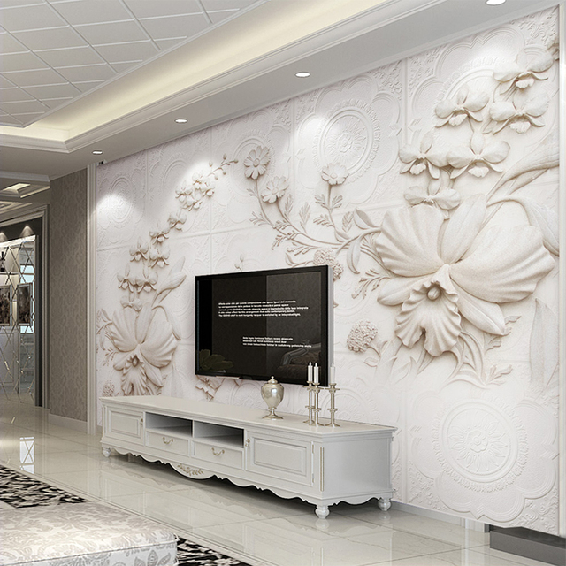 3D Stereo White Stone Orchid TV Background Wall Mural Modern European Style Living  Room Hotel Decor