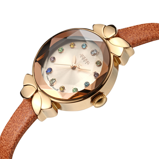 Free Spare Strap Lady Women's Watch Japan Quartz Cute Hours Fashion Real Leather Children Clock Girl's Birthday Gift Julius Box