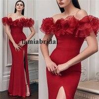 Сексуальные с открытыми плечами с юбкой годе красные платья для выпускного 2K19 плюс размер оборки Длинные атласные Сплит дешевые 2019 Формаль