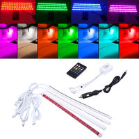 4 in1 Car Auto Interior Wireless Remote Voice Music RGB Control 16 Colors Strip Decorative LED Light Car Styling Atmosphere Lamp