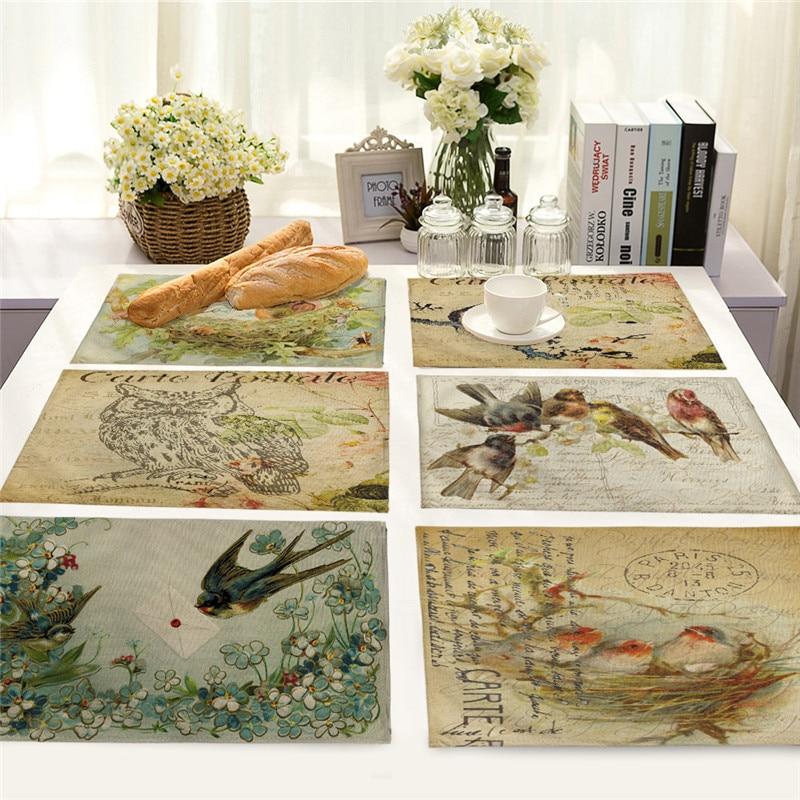 42x32cm Vintage Bird Owl Pattern Kitchen Dinner Table Mats Cotton Linen Table Napkin Decorative Placemat Cup Wine Pad
