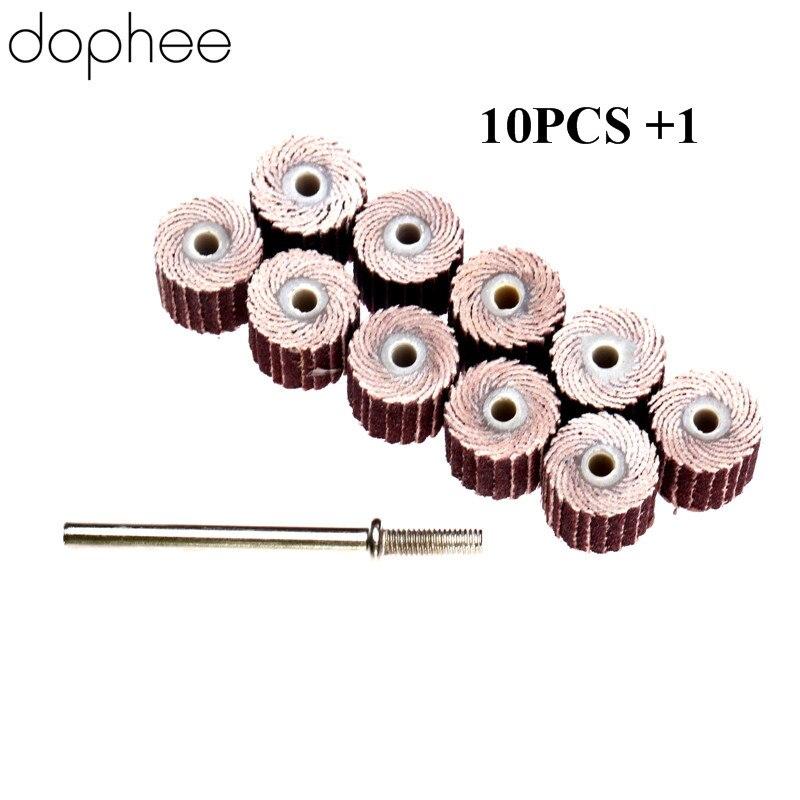 Dophee 240-Grit Dremel Accessories Sanding Flap Disc Grinding Flap Wheels Brush Sand+Mandrel For Dremel Rotary Tool 10x3mm 10Pcs