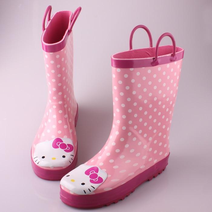 61d28b013 Free Shipping 2013 New Brand Kids Rain Shoes Hello Kitty Fashion Rain Boots  For Kids Girls Pink Cat Cartoon Print Rainboots