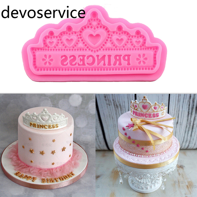 Princess Crown Silicone Cake Molds Wedding Border Fondant Decorating Tools Cupcake Chocolate Gumpaste Moulds