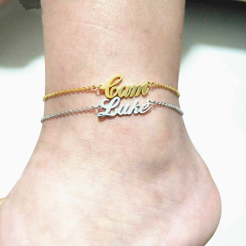 f7efb0238 Dainty Custom Name Foot Anklet Bracelets For Women Personalized Initial  Letters Nameplate Charm Anklets Leg Jewelry