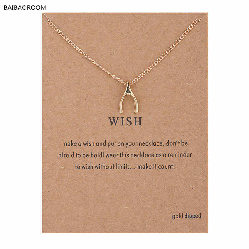 Hot Sale Sparkling wishbone gold-color Pendant necklace Clavicle Chains Statement Necklace Women Jewelry(Has card) 0028