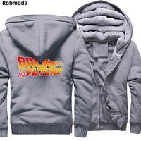 Back to the Future Thicken HOODED SWEATSHIRT Classic Movie Series Warm Fleece Zipper Coat Raglan Hoodie Plus velvet men's jacket