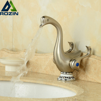 Cute Duck Shape Deck Mount Two Handle One Hole Basin Faucet Brushed Nickel Bathroom Hot Cold Water Taps