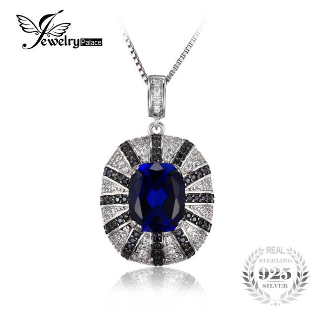 Jewelrypalace luxo 6ct criado safira azul espinélio preto sólido 925 sterling silver pendant não inclui uma cadeia fine jewelry