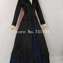 Горячая черный и синий Викторианский эдвардиан Даунтон аббатство стимпанк Титаник платье историческая реконструкция костюм