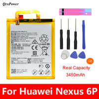 QrxPower Replacement Battery 3450mAh HB416683ECW For Huawei Nexus 6P H1511 H1512 Original Replacement Battery Free Tools