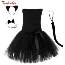 Princess Girls Black Cat Cosplay Costume Children Tutu Dresses Halloween Theme Party Performance Dress Costumes Vestido