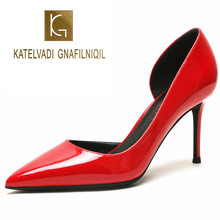 KATELVADI Size 34-42 Sexy Pumps Women Shoes 8CM High Heels Pointed Toe Shoes Red Patent PU Women Wedding Heels K-366 fashion women pointed toe chunky high heels sexy patent leather shoes women pumps lazy shoe pink black red silver wedding heels