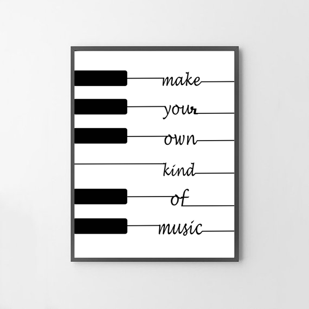 make your own kind music white amp black wall art poster