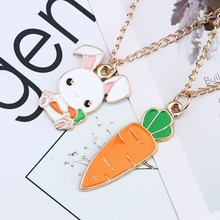 Fashion Creative DIY Cute Animal Pendant Cartoon White Rabbit Hold Carrot Necklace Gold Chain Jewelry Gift DropShipping