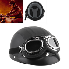 Unisex Retro Leather Motorcycle Helmets Scooter Open Face Half Motobike Helmet with Goggles Capacete for Motorcycle Electric Car unisex bicycle protect helmets motorbike helmet goggles protection helmet retro vintage half open face helm
