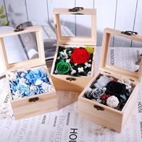 Green/Blue/Black Mixed Preserved Fresh Flowers with Square Wooden Box For Wedding Party Birthday Valentine's Day Gift Favors