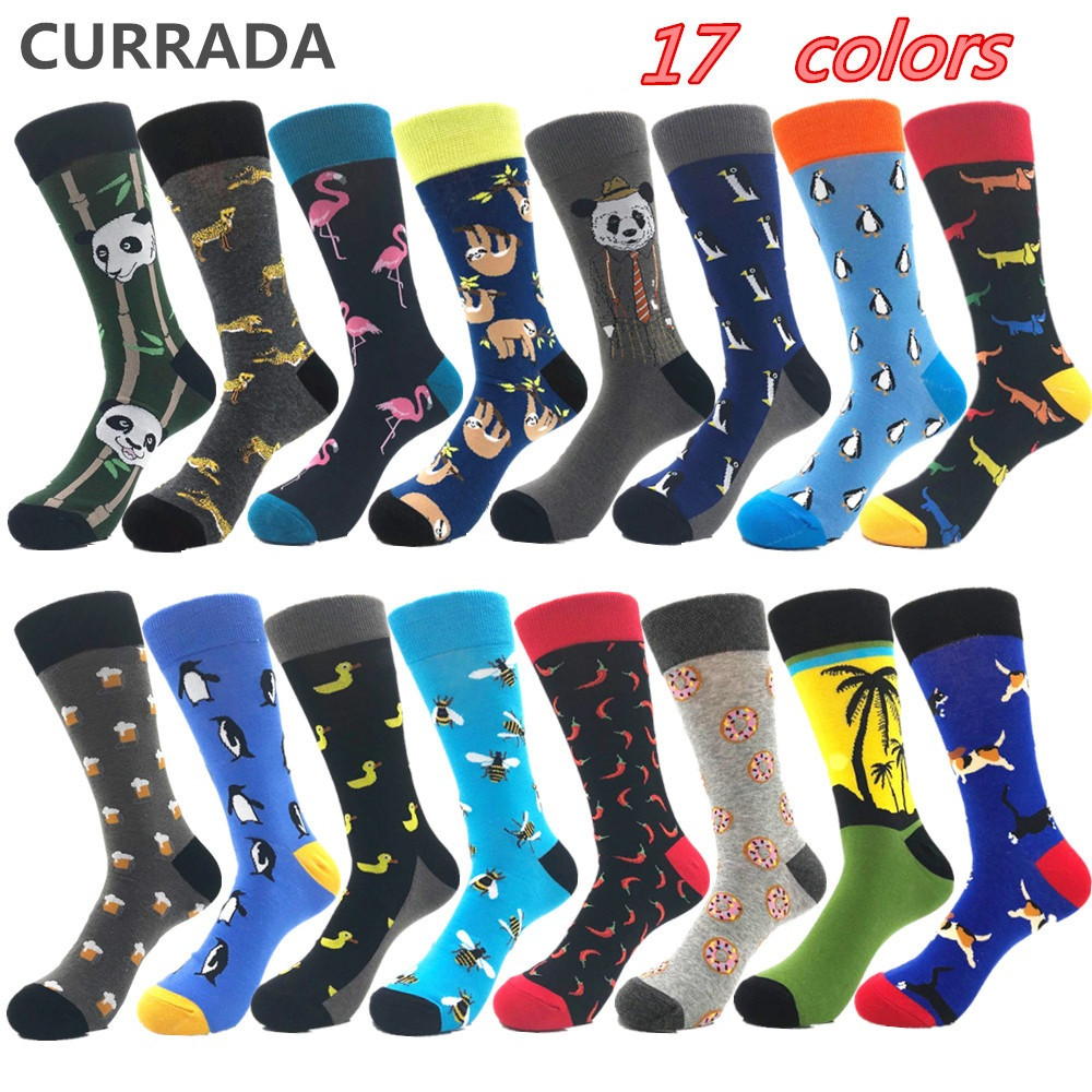 Brand Quality Mens Happy   Socks   Combed Cotton Panda penguin Animal Cartoon 17 colors Funny   Socks   Casual Calcetines Largos Hombre