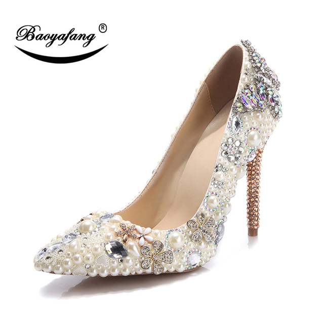 BaoYaFang 2019 New arrive Pointed Toe Beige Peal Beads Crystal Heels Party  dress shoes High heels aac3c15e9fe8