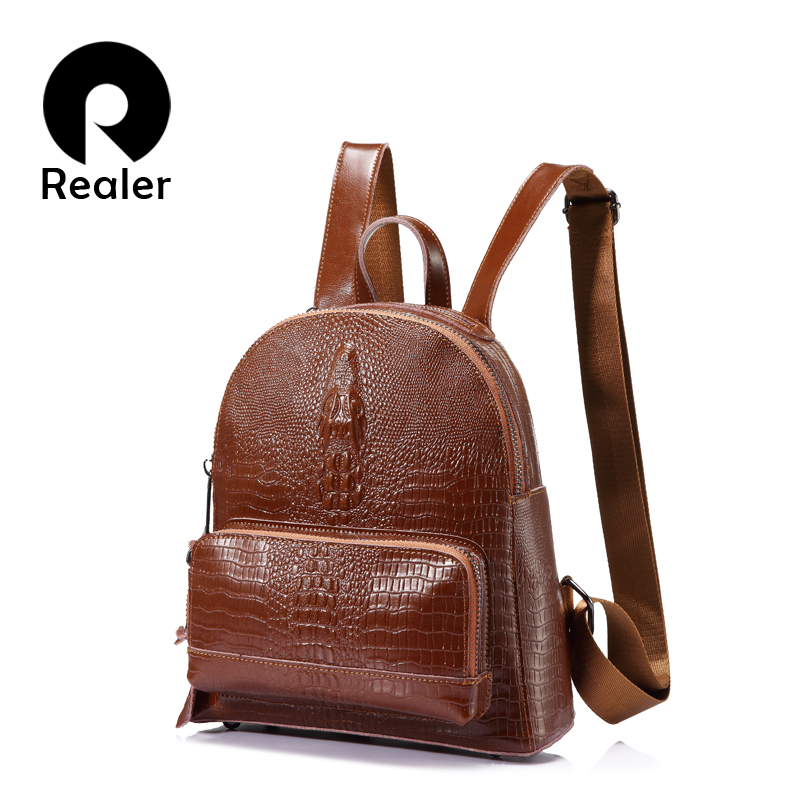 REALER backpack women Small Backpacks for girls teenagers split leather with crocodile prints ladies shoulder bags