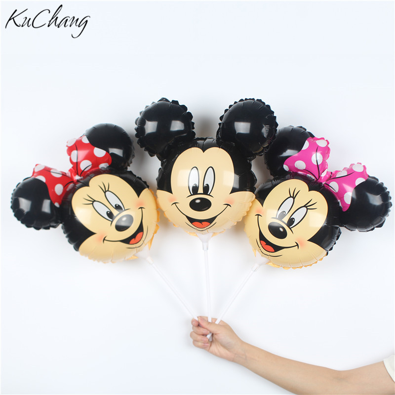 20pcs Mickey Minnie Mouse Head Cartoon Shape Foil Balloon With Stick 14.5inch Small Children Toy Balloon Balloon For Party