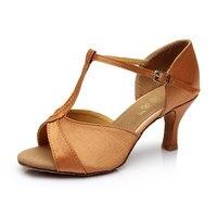 New Women S Ballroom Tango Latin Dance Shoes PU Satin Dancing Heels Salsa Shoes 5cm 7cm