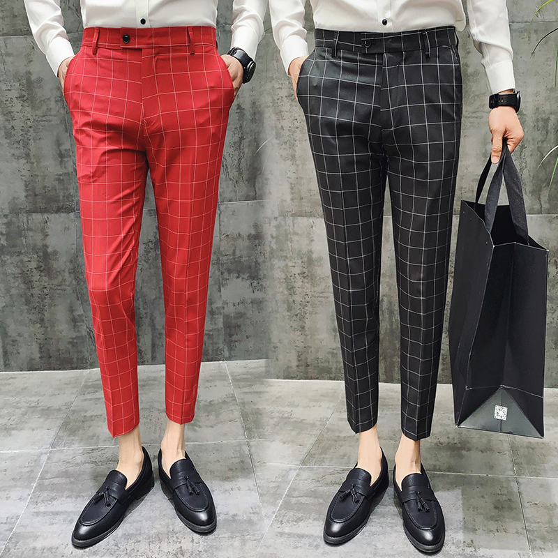 Suit Pants Summer Men's Plaid Business Casual Nine Points Suit Pants Men's Trousers Men's Plaid Slim Nine Points Suit Pants