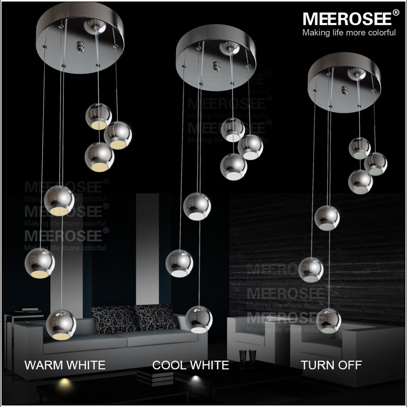 18 Watt 6 Led Pendant Light Fixture Polished Chrome Ball Lamp Modern Suspension Drop Lighting In Lights From On