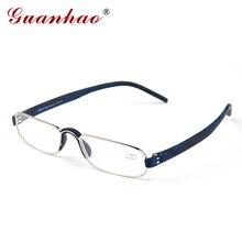 Guanhao 투명한 광학 독서 안경 명확한 남자 여자 노안 원시 원반 프레임 합금 초경량 hd보기