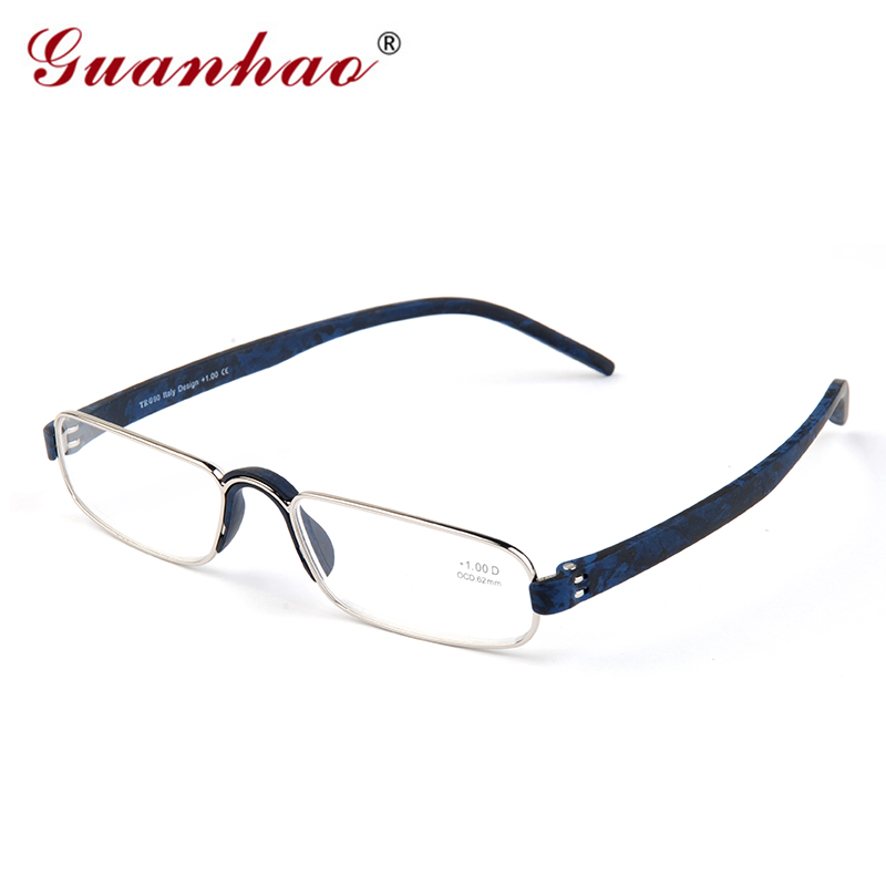 Guanhao Transparent Optical Reading Glasögon Clear Man Women Presbyopia Hyperopia Reading Glasses Frame Alloy Ultralight HD View