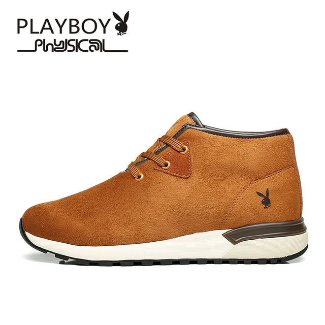 Playboy Pria Musim Dingin Sepatu Bot Kulit Sapi Beludru Hangat Sepatu Bot  Salju Tinggi Pendek Mewah e99c4b0dac