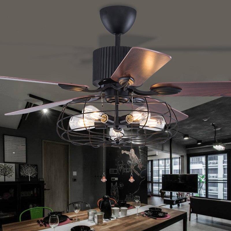 Высокое качество Лофт вентилятор люстра Ретро столовая бытовая электрический вентилятор бесшумный светодиодный вентилятор с пультом дист...