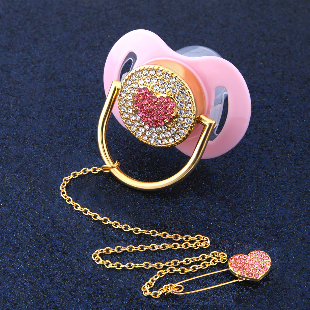 Luxury Baby Bling Pacifier Rhinestone Red Sweet Heart Crystal Orthodontic Nipple Silicone Soother Baby Dummy Pacifier Clip