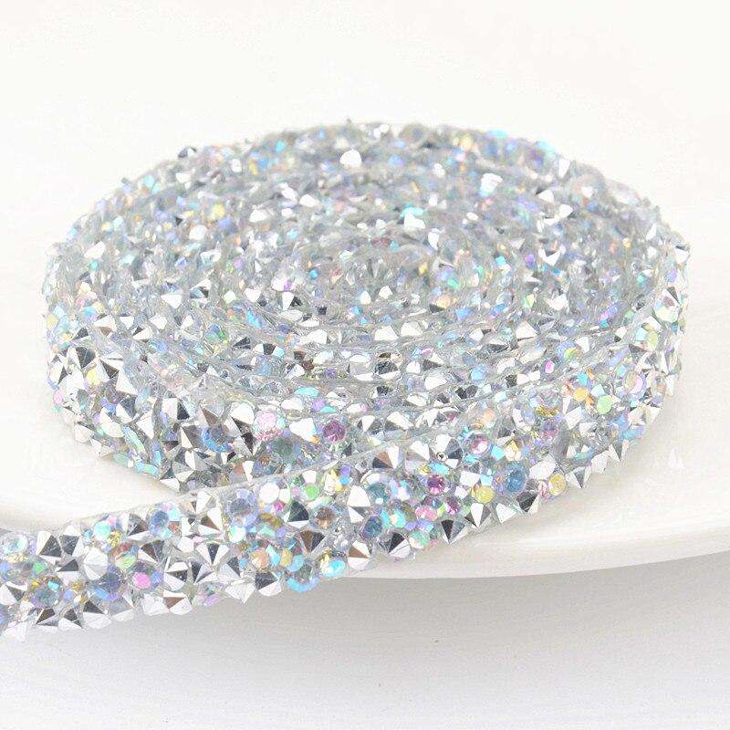 5Yard lot Hotfix Crystal AB sparking Rhinestones Chain Trim Bridal Applique  Strass Crystals Mesh Banding a0668a28371d