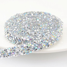 5Yard lot Hotfix Crystal AB sparking Rhinestones Chain Trim Bridal Applique  Strass Crystals Mesh Banding e381883a1fcb