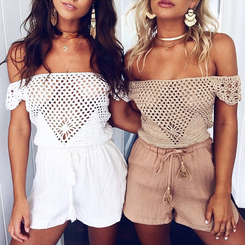 BKLD 2017 Summer Hollow Out Sexy Slash Neck Camis Tops Women Bustier Crop Tops Crochet Elegant
