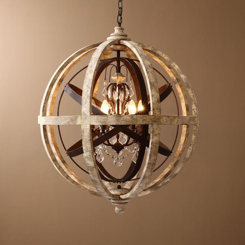 Modern Chandelier Lighting Globe 4 Lights Wood Ceiling: HAIXIANG Vintage Chandelier Modern Globe Hanging Light