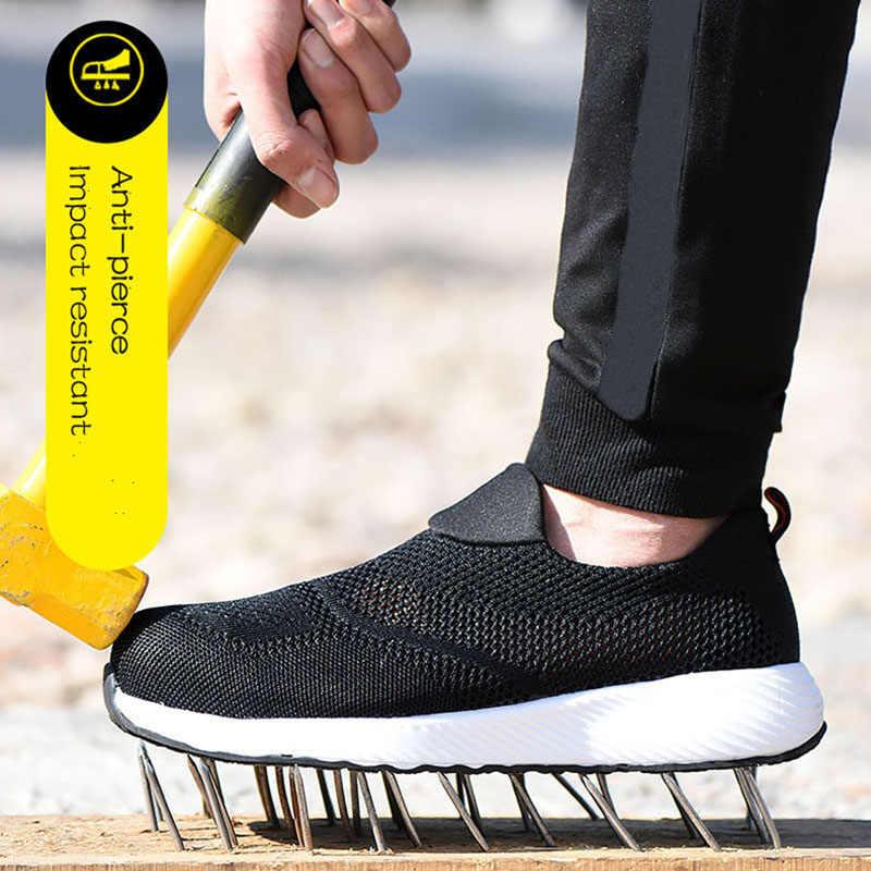 Zomer Mannen Werkschoenen Stalen Neus 2019 Lichtgewicht Werk Laarzen Ademend Mannelijke Vrouwelijke Punctie Proof Veiligheidsschoenen Heren