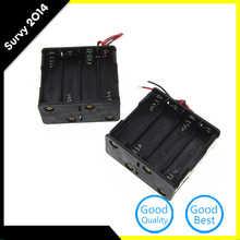 2pcs 8 AA 2A Battery 12V Clip Holder Black Box Case with Wire Leads hl 2017 diy 12v 8 x aa battery holder case box with leads switch may8