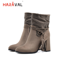 HARAVAL Winter Fashion Warm Ankle Boots Thick High Heel Women New Brand Classic Shoes Lady Office B204
