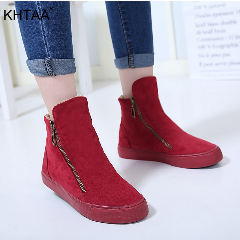 KHTAA frauen Winter Stiefeletten Weibliche Zipper Flock Plattform Schnee Boot Damen Plüsch Turnschuhe Casual Flache Schuhe Frau Schuhe