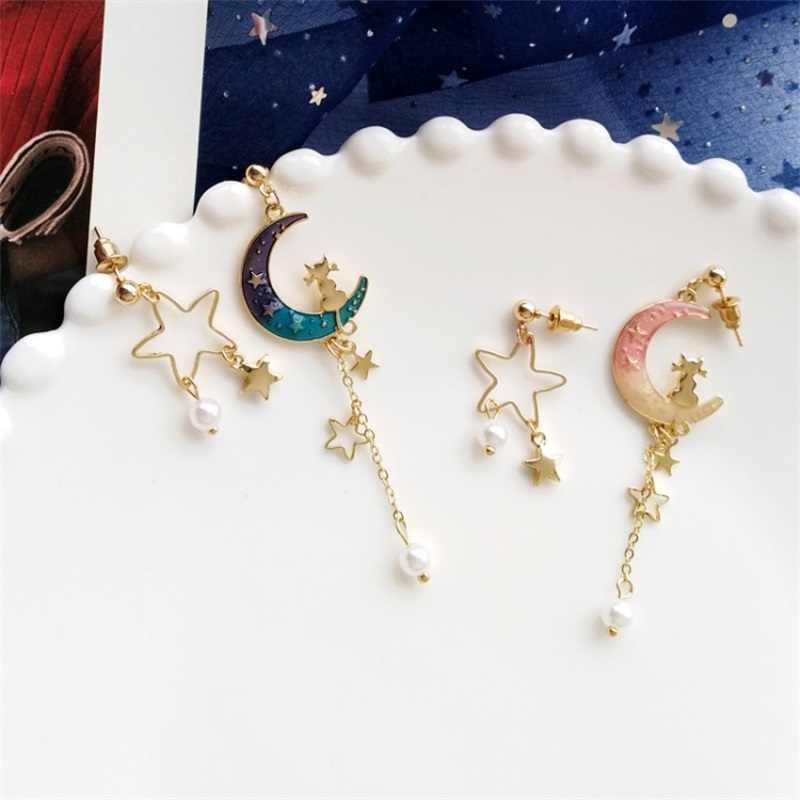 2019 Korean sweet starry pink star moon asymmetric long metal dangle earrings temperament pearl ear clip fashion women jewelry