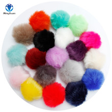 High quality 8cm Fake Faux Rabbit Fox Fur Pompom Ball Pom for Car Keychain Keyring Women bag Pendant DIY wholesale