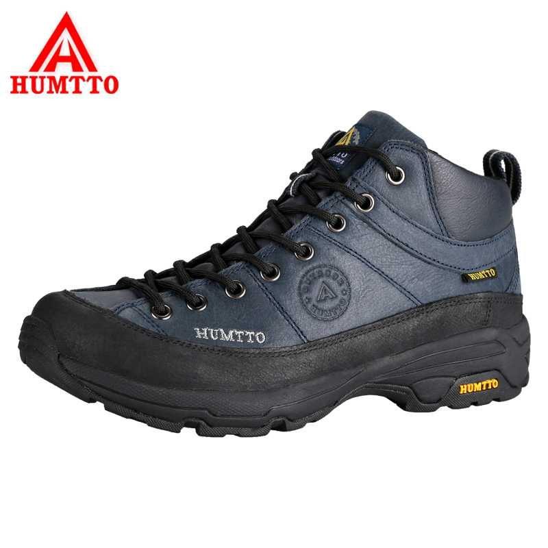 HUMTTO Men Hiking Shoes Outdoor Shoes Full-Grain Leather Waterproof Climbing Shoes Hard-Wearing Thermal Boots Mountain Sneakers humtto new hiking shoes men outdoor mountain climbing trekking shoes fur strong grip rubber sole male sneakers plus size